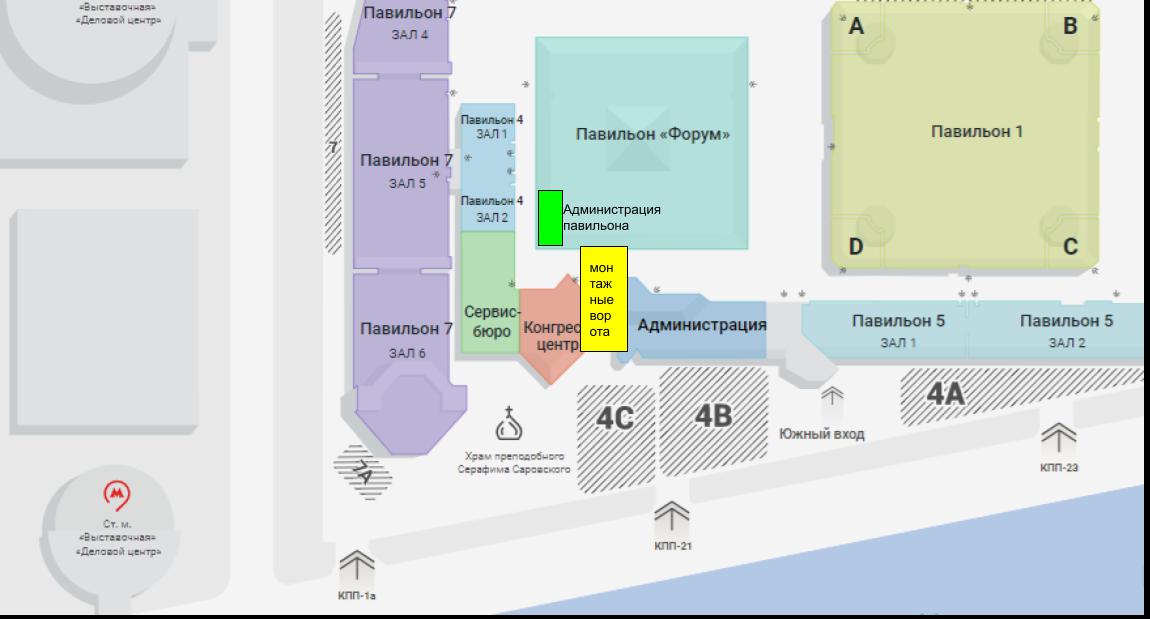 Карта прохода к администрации павильона Форум